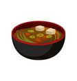 delicious miso soup in black bowl traditional vector image