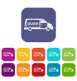 delivery truck icons set vector image vector image