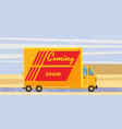 delivery van coming soon on road product goods vector image