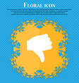 Dislike Thumb down Floral flat design on a blue vector image vector image