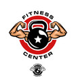 fitness kettlebell logo template vector image