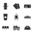 Flying on plane icons set simple style vector image vector image
