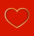 gold heart on red background symbol of love vector image vector image