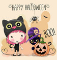 halloween card with girl and cat vector image vector image