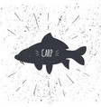 hand drawn common carp icon fish in black and vector image vector image