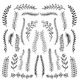 hand drawn floral ornaments scroll shape vector image