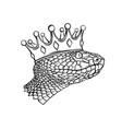 hand-drawn vintage snake with crown tattoo art vector image vector image