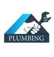 hand with a wrench plumber vector image vector image