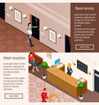 hotel service isometric horizontal banners vector image