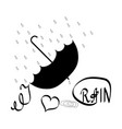 i love rain t shirt umbrella and rain lettering vector image