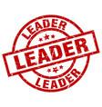 leader round red grunge stamp vector image vector image