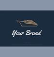 luxury yacht boat ship line outline logo design vector image vector image