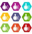 medallion icon set color hexahedron vector image