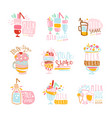 milk shake labels set colorful hand drawn vector image vector image