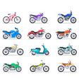 motorbike set motorcycle and scooter bike and vector image vector image