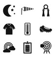 Night workout icons set simple style