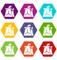 nuclear power plant tower icons set 9 vector image vector image