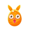 orange egg shaped easter bunny vector image vector image