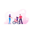 parents teaching child riding bicycle in city park vector image vector image