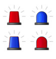 red and blue police flasher siren set vector image vector image