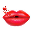 Red Lips With Hearts vector image