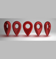 red map pointers set isolated on white background vector image