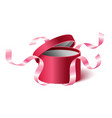 red pink opened 3d realistic round gift box with vector image vector image