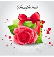 red rose with a green box vector image vector image