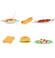 set of six food options vector image vector image
