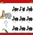 shadow game activity with safari animals vector image vector image
