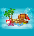 summer time with cartoon objects vector image