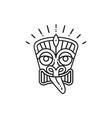 tiki icon mask head thin line art polynesian vector image