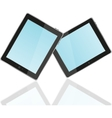 Touch screen tablet computer with blue screen vector image