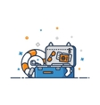 Travel concept Suitcase flat outline vector image