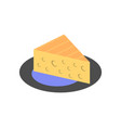 triangular piece of cheese with holes icon vector image