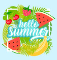 tropical fruit background with leaves vector image