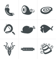 Various meat icons set vector image