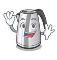 waving plastic electric kettle isolated on cartoon vector image vector image