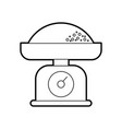 weight scale and flour cooking food bakery vector image vector image