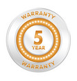 5 years warranty vector image