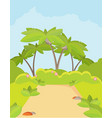 jungle forest green landscape with road path and vector image