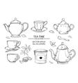 tea set on white background vector image