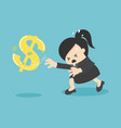 cartoon business woman chasing symbol money style vector image