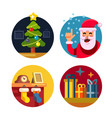 collection of cartoon christmas icons vector image