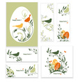 Easter eggs birds and flowers vector image