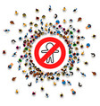 ban symbol template prohibiting sign many people vector image