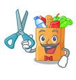 barber food bag package of shape cartoon vector image