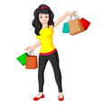 beautiful shooping woman with bags vector image vector image