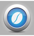 blue metal button with coffee bean vector image vector image