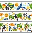 Brazil seamless borders with stylized objects and vector image